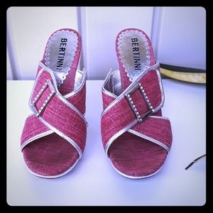 Bertinni pink and silver sandals size 7